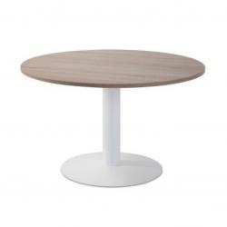 Mesa de reunión redonda pie metálico Blanco/Olmo de 110 CM