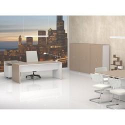 Despacho Completo Style 1, con 3 armarios medios, Mesa fondo 80 cm