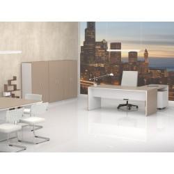 Despacho Completo Style 1, con 3 armarios medios, Mesa fondo 90 cm