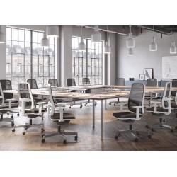 Silla de escritorio ergonómica BLAZE blanca respaldo malla uso 8 horas