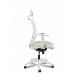 Silla Operativa ergonómica Kerry White Cabezal Syncro de Vincolo brazos regulables y base blanca