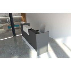 Mostrador de recepción MOBI Grafito, 120x62x105 cm, sobremostrador y zócalo blancos