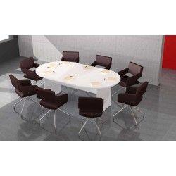 Mesa de reunión ovalada 200 cm modelo Zafiro pata panel